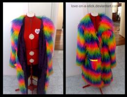 Rainbow fluffy pimp jacket by love-on-a-stick
