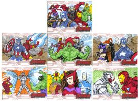 Avengers age of Ultron oficial sketch cards  27-33 by mdavidct