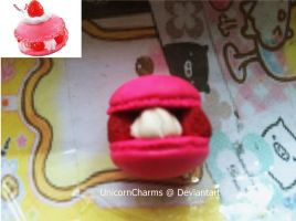 Pink Macaron with Strawberries and Whip Cream by UnicornCharms