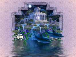 Castle and Dolphins by jaded-butterfly
