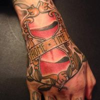 Alex neo traditional sand timer hand tattoo by HammersmithTattoo