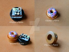 Plugs Sushi and Donut 30 mm Commission by oOMetalbrideOo
