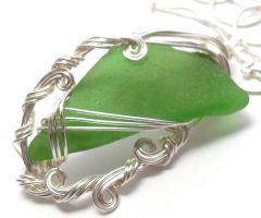 Emerald Green Maine Sea Glass Necklace by sojourncuriosities