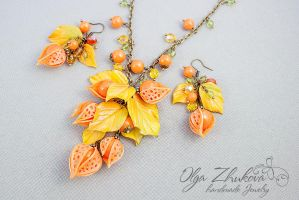 Pendant and earrings with cape gooseberry by polyflowers