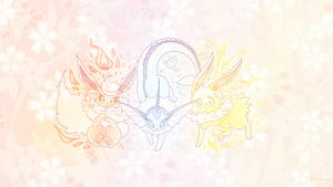 Eeveelution Trio Wallpaper by Felynea