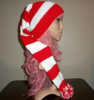 Red and White Elf Hat by Branxnia
