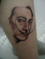 My first portrait tattoo. Dali by Ginaart