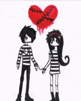 emo couple by lovelylittlesunshine