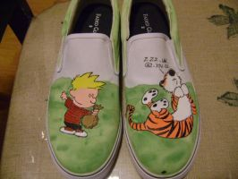 Calvin and Hobbes Shoes by spookisapuppy
