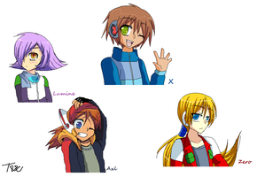Doodles from Megaman X8 Boys - Human Version by the88cherryice