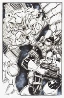 11x17 COMMISSION Goblin vs PUNISHER by rantz