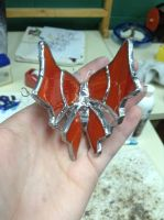 red and orange butterfly top view by squatalopicous