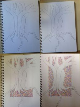 Rainbow Negative Space Tree by SilverRabbits