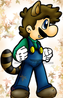 raccoon luigi 2 by Nintendrawer
