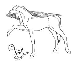-Pegasus Lineart by Justalittlelost