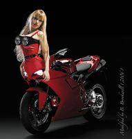 Red Motogirl by Mertail