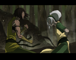 LOK - Toph training by Banished-shadow