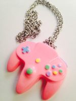 Pastel N64 Controller Necklace Pendant by CharmingDulce