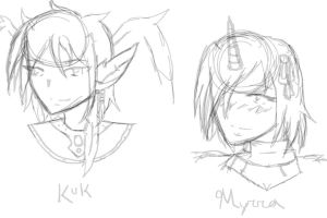 VolSa Sketches: Kuk and Myrra by TheNakedKing