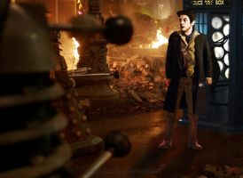 The War Doctor and T.A.R.D.I.S by jasonspencerwrenart