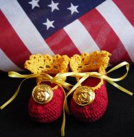 USMC Keepsake Booties, Girl by BrigetteMora
