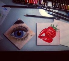 4x4inch pencil on canvas. Lips/ Cherry and Eyeball by CalebSlabzzzGraham