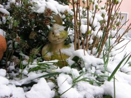 Easter bunny in the snow by archaeopteryx-stocks