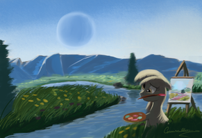 Painting with derpy Hooves by Auroriia