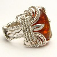 Wire Wrapped Amber Stirling Silver Ring by JandSGems