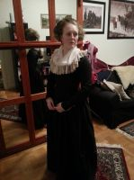 1780-90's mourning gown by LadyCafElfenlake