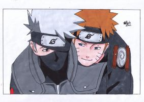 Kakashi and Naruto by BlackStarLGArt