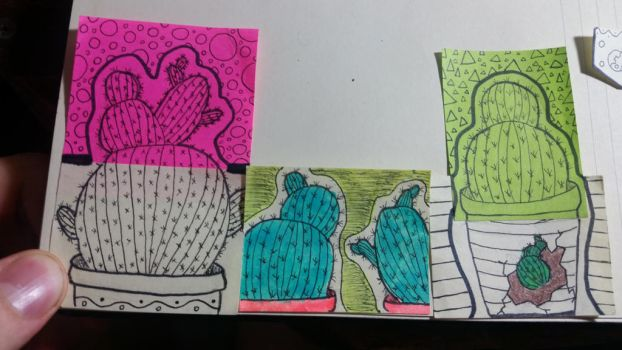 Lil post-it cactus garden  by idunnowuttodraw