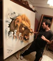WHO IS THE KING? 3D anamorphic painting. by ARTonioCarrasco