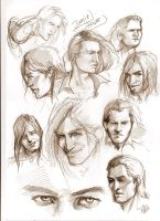 Jamie Fraser head sketches by aryundomiel