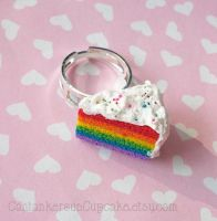 Rainbow Cake Slice Ring by CantankerousCupcake