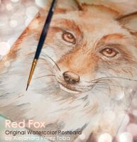 Red Fox - Original watercolour postcard by Alejandra-perez