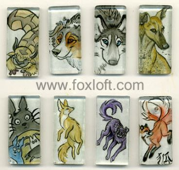 Sumi Glass Pendants - Group 6 by Foxfeather248