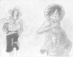 Luffy and Ace (One Piece) by RyuujiTakeshi