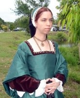Green Silk Tudor Gown Front by CenturiesSewing