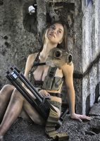 Polina with minigun #3 by ohlopkov