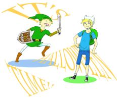 Halloween Time Finn and Link by totalexistancefail