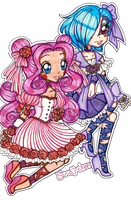 Cure Rose and Cure Midnight by sekaiichihappy