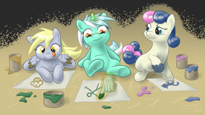 Fingerpainting ponies by 0Riane0
