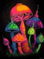 Spacey Shrooms by shonefluoart