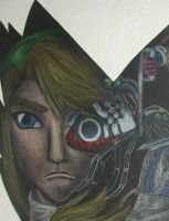 Detail of clock--link's face by Throughawolfseyes