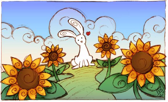 Bunny and Sunflowers by fenrier