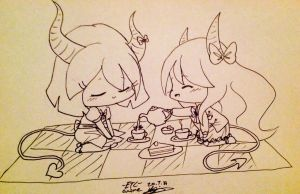 I could not resist chibis and tea parties. by 11ForcedSmile11