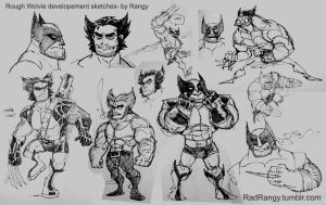 Wolvie Sketches by RangyRougee