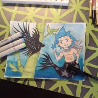 Black star mermaid with Betta fish by Technoloaf