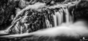 Flowing Off the Rock HDR BW by mjohanson